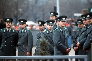 East German guards wait for the official opening of the Brandenburg Gate.